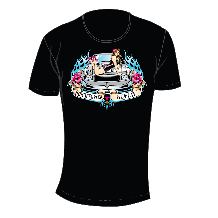 pin-up horsepower and heels women's t-shirt