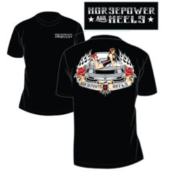men's horsepower and heels pin-up t-shirt