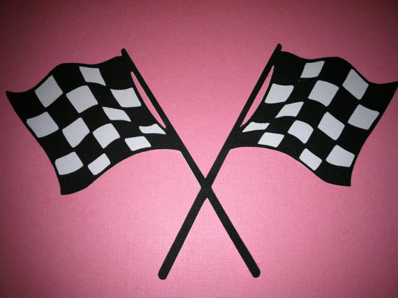 Pink Checkered Racing Flags