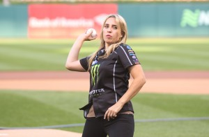 Brittany Force throws the first pitch