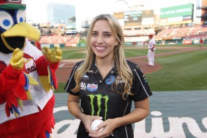 Brittany Force throws first pitch