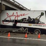 Brittany Force transporter wreckage