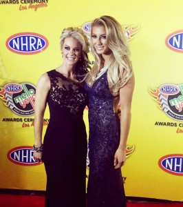 Leah Pritchett and Angie Smith on NHRA Red Carpet