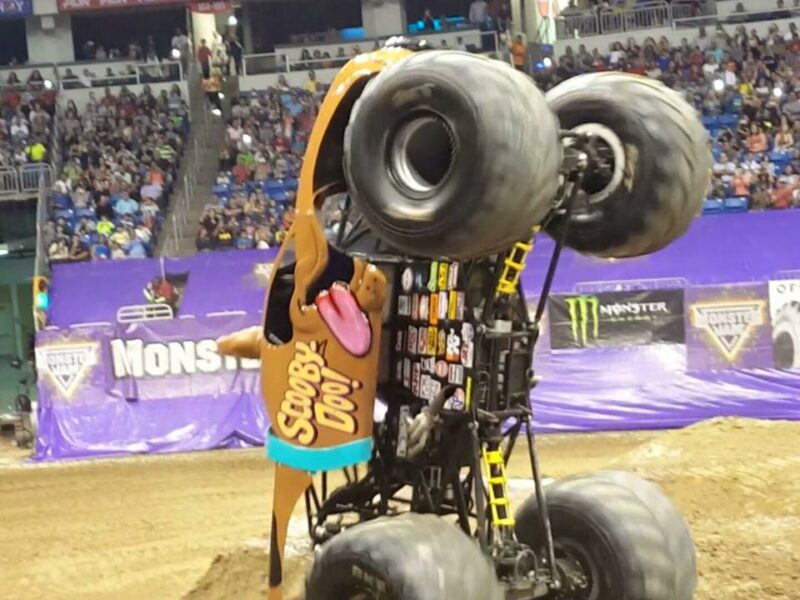 Nicole Johnson takes the Scooby Doo Monster Truck airborne in Puerto Rico