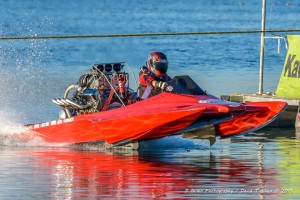 Shelby Ebert on the water in drag boat racing
