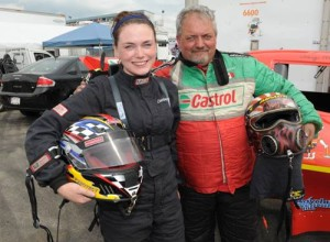 Courtney Mageau and her father at the track