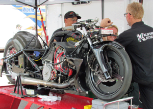 Katie Sullivan's Pro Stock Motorcycle in the pits