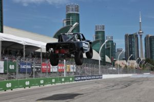 Stadium Super Truck jump by Sara Price