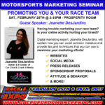Motorsports Marketing Seminar – Promoting You and Your Race Team