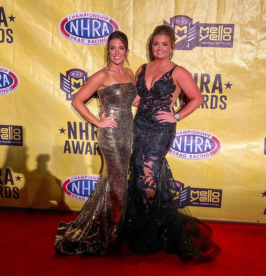 Erica Enders at the 2019 NHRA Banquet with sister Courtney.